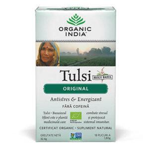 Ceai Tulsi (Busuioc Sfant) Original | Antistres Natural & Energizant, plicuri