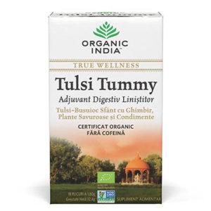 Ceai Digestiv Tulsi (Busuioc Sfant) Tummy cu Ghimbir, Plante Savuroase si Condimente, plicuri
